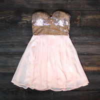 rose gold sequin strapless dress
