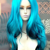 Extra Long Fringeless Ocean Blue with Black Tips Fashion Wig (OUT OF STOCK)