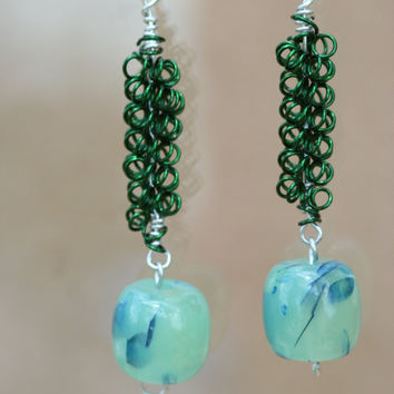 Green Coil Wrapped Wire Earrings with Blue Green by LesleyPridgen