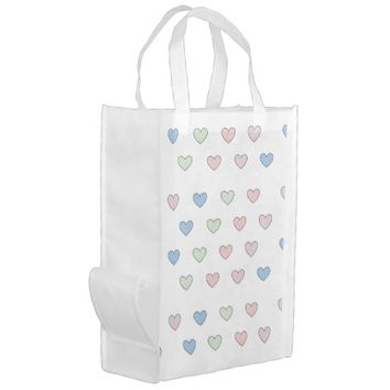 Multiple hearts white reusable grocery bag
