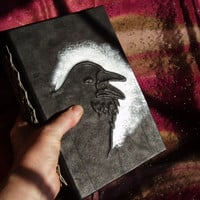 Chunky Raven Leather Journal with Black Paper