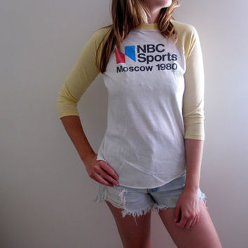 NBC Sports Moscow 1980s Tee Shirt Womens Reverse High Low Hi Lo Long Sleeve Sports Shirt Olympics Baseball Top