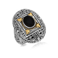 18K Yellow Gold and Sterling Silver Fancy Filigree Adorned Black Onyx Ring