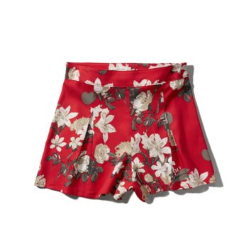 Floral Pleated Culotte Shorts