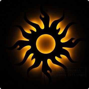 Tribal Sun Illuminated Wall Art and Lighted Decor by LuxChroma