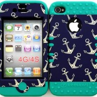 Bumper Case for Apple iphone 4 4G 4S Anchor Pattern hard plastic snap on over Teal Silicone Gel
