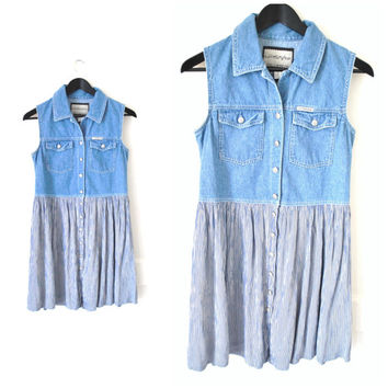 90s DENIM dress vintage early 1990s GRUNGE minimal pleated SKATER skirt button down mini jean dress small medium