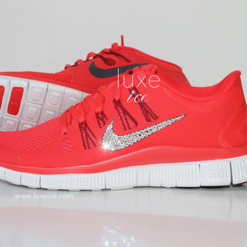 NIKE run free 5.0 shoes w/Swarovski Crystals detail - Light Crimson/Gym Red/Summit White/Black