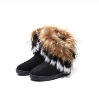 Generic Fashion New Women Autumn Winter Snow Boots Ankle Boots Warm Fur Shoes (women 38, Black)