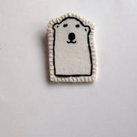 Polar bear brooch hand embroidered attached to card for Valentine's Day kids jewelry
