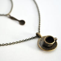 Tea Cup Necklace Double Necklace with Tea Cup and by Maguida