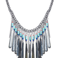 Beaded Paddle Fringe Collar Necklace | Wet Seal