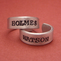 Sherlock Holmes Inspired - Holmes and Watson - A Pair of Hand Stamped Adjustable Aluminum Rings