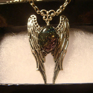 Dichroic Glass Angel Wing Necklace in Antique Silver  (1010)