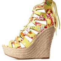 Lace-Up Floral Espadrille Wedge Sandals