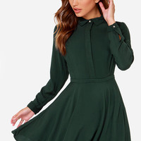 Rhythm Deschanel Forest Green Shirt Dress