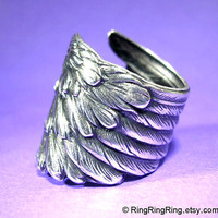 Detailed Angel Wing ring -  feather ring, adjustable antiqued silver ring jewelry, for men and women 071412