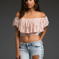 Lace Off-The-Shoulder Crop Top