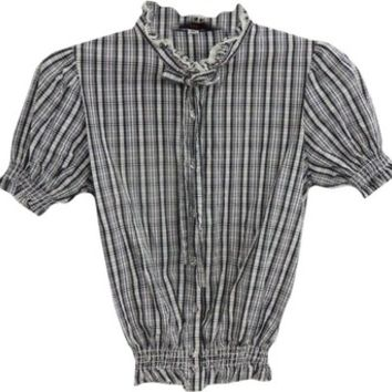 Lux Black And White Tie Neck Ascot Neck Puff Sleeves Plaid Ruffle Blouse Button Down Shirt 48% off retail