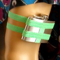 Flask Garter - WITH 4oz FLASK - Lime Green - Awesome St Patricks day accessory