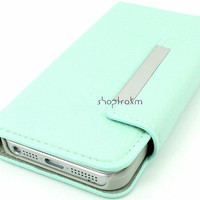 Mint leatherette wallet phone case for Apple iPhone 5 plain no studs or embellishments