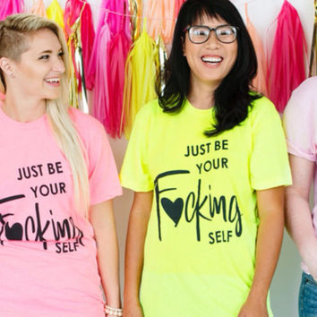 T-shirt  (Neon Yellow)  Just be Your Self