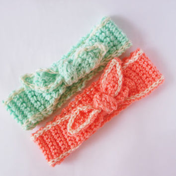 Set of 2 Crochet Knot Bow Headband 10% Off, 31 Different Colors