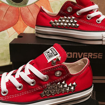 Custom Studded Red Converse All Stars - Chuck Taylors ALL SIZES & COLORS!!