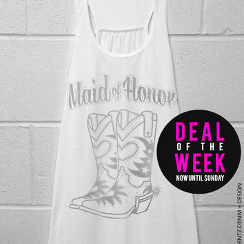 Cowgirl Boots Maid of Honor - White with Silver Flowy Racerback Tank