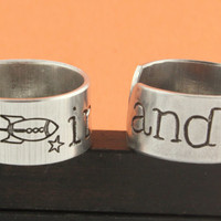To Infinity and Beyond Ring Set - Best Friends Ring Combo - Friendship - BFF - Adjustable Aluminum Rings - Handstamped Rings