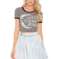 I Love You To The Moon + Back Crop Top