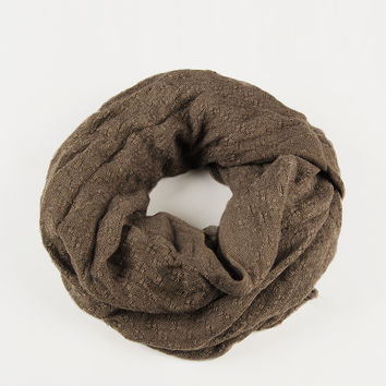 Stitched Squares Infinity Scarf - Taupe