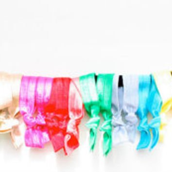 25 Ponytail Holder Hair Ties for Fall - Elastic Hair Tie Grab Bag - Yoga Hair Elastics in Every Color - Hairties for Thin or Thick Hair