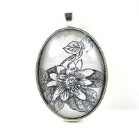 Dictionary Illustration Pendant -- Flower -- from Vintage, in Glass Tile Oval