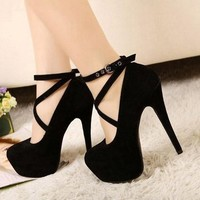 Sexy Fashion Womens Platform Pumps Strappy Buckle Stiletto High Heels Shoes