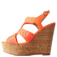 Crochet Lace Cut-Out Platform Wedges by Charlotte Russe