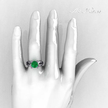 Modern 10K White Gold 1.5 Carat Emerald Diamond Solitaire Ring AR110-10KWGDEM