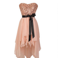 Delia's Sequin High-Low Chiffon Dress - Pink