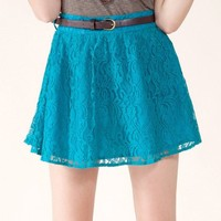 Flying Tomato Women's Belted Lace Mini Skirt