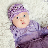Crochet Summer Baby Girl Purple Hat  with crochet white flower applique