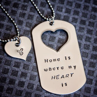 $33.00 Home is Where My Heart Is dog tag necklace by StampedMemoriesbyMel