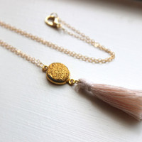 Gold Druzy Tassel Necklace - Light Pink Tassel Necklace - Gold Drusy Druzy Jewelry - Statement Jewelry Necklace - Gold Tassel Jewelry