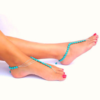 Turquoise barefoot sandals - Asymmetrical - beach - bridal shoes -  beach wedding - nude shoes - cruise wear - boho style