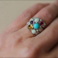 Graduated SIX Birthstone Ring. Fairy Tale Ring. Sterling Silver Colorful. Mother's Ring. Family ring. Grandma. Sisters. Friends. Customize