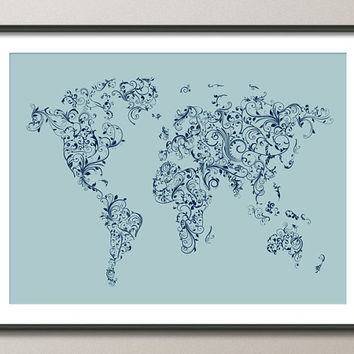 Map of the World Map Floral Swirls Duck Egg Blue Art Print on Etsy