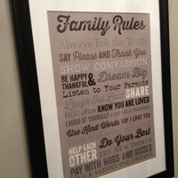 "Subway Art Family Rules Print Home Rules Poster Print - Subway Art Print - Kitchen or Foyer Art Print - 16""x20"" Poster Size"