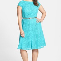 Plus Size Women's London Times Belted Cap Sleeve Lace Fit & Flare