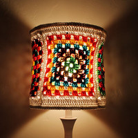 Colorful Lampshade Granny Square Crochet Hippie Red Green Blue Brown Tones Unique Housewares Home decor lighting