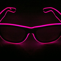 Purple Glow Glasses - Battery Powered Glowing EL Rave Party Eyewear