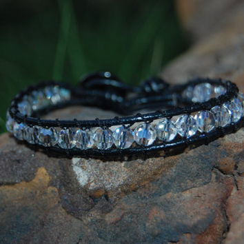 Wrapped Black Leather Bracelet with by authenticaboutique on Etsy